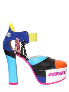 MOSCHINO - 120MM LEATHER & SUEDE PUMPS - PUMPS - MULTICOLOR - LUISAVIAROMA - 120mm Heel . Elastic ankle strap . Suede heel detail . Printed logo detail . Rubber sole