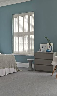Muted colour with grey and white creates a wonderful calm feel to a room. Made to measure shutters are perfect for this, great in bedrooms! Grey Walls Living Room, Living Room Colors, Living Room Carpet, Living Room Designs, Blue Rooms, Blue Bedroom, White Rooms, Home Decor Bedroom, Bedroom Ideas