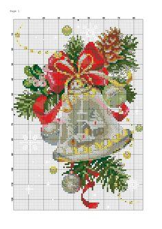 Cross Stitch Cards, Beaded Cross Stitch, Cross Stitching, Cross Stitch Embroidery, Cross Stitch Patterns, Cross Stitch Christmas Ornaments, Christmas Bells, Christmas Cross, Cross Stitch Collection