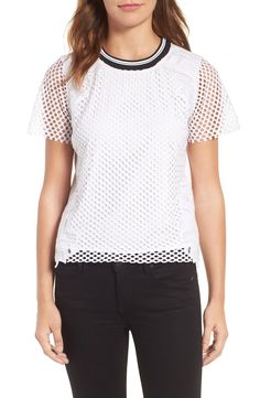 Trouvé Lace Mesh Top available at Nordstrom Half Yearly Sale, Bold Stripes, Capsule Wardrobe, Lace Detail, Sporty, My Style, Tees, Shopping, Clothes