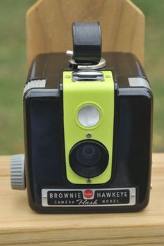 LIME GREEN Working Kodak Brownie Hawkeye Flash Camera. $49.99, via Etsy.