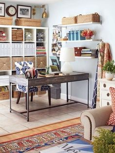 I love this small office space, has a rustic and homely feel about it. Super storage and neutral colours.