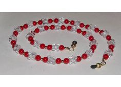 Red Beaded EYEGLASS Necklace Leash Lasso by JensSunrise on Etsy