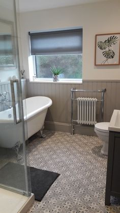 I chose this pin because I liked the simplicity of the blind on the window, plus the design of the radiator works very well, it becomes a feature in its own right. I would chose a more MOCCA colour for the blind to pick up the colour in the floor tiles. #mainbathroomdesigns
