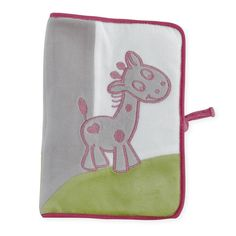 """Hülle für das U-Heft und den Mutterpass """"Prinzessin & Frosch"""" - Les Kinousses #baby #huelle #uheft #mutterpass #maedchen #rosa #weiss #gruen #grau #giraffe #herz #prinzessin #samt #kinousses"""