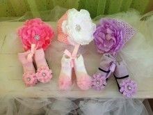 Head and Toes: Three Knit Hats with Flower Bow ... Pink with Hot PinkFlower, Pink with White Flower, Lavender with Lavender Flower  Three Pairs of socks