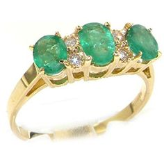9ct Yellow Gold Emerald & Diamond Trilogy Ring