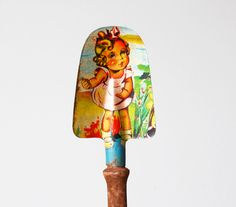 Vintage Tin Toy Shovel Lithographed 1970s