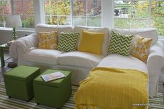 Hooked on Houses Yellow And Green Sunroom Ektorp Sofa Fall 2011 Hooked On Houses Ektorp Sofa, Unique Living Room Furniture, Living Room Decor, Green Sofa, Living Room Green, Outdoor Rooms, House Rooms, Room Colors, Home Decor Inspiration