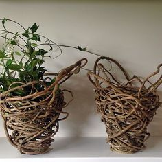 - a  p r e t t y  p a i r - i do not do symmetry well but this would be as close as I get - which is not at all! #randomweave #baskets #interiors #decorator #design #art #handmade #sustainable