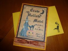 Handmade Halloween Card - Vintage look - Witch with matching envelope