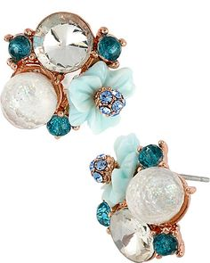 BLUE ROSE GOLD CLUSTER EARRING BLUE accessories jewelry earrings fashion
