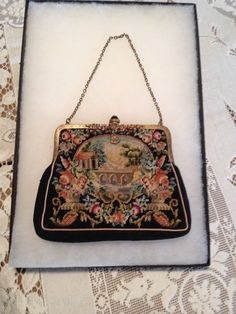 Beautiful Victorian Antique Petit Point Tapestry Floral Scenic Evening Purse Bag #Unbranded #EveningBag