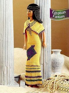 Egyptian-Fantasy-Outfit-for-Barbie-Doll-Annies-Crochet-PATTERN-LEAFLET-NEW