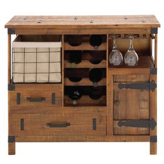 Found it at Wayfair - Ka'ula 8 Bottle Wine Cabinet in Brown Hardware is a little overdone, esp. on top, but I like basic design.