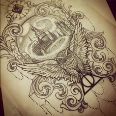 See more ideas about hogwarts tattoo, hp tattoo and harry potter tattoo uni Hp Tattoo, Tattoo Style, Back Tattoo, Tattoo Quotes, Hedwig Tattoo, Tattoo Frame, Hogwarts Tattoo, Harry Potter Sketch, Harry Potter Drawings