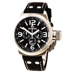 TW Steel TW6 Men's Canteen Chronographs Black Dial Watch, #TWSteel, #TWSteelTW6