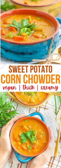 This easy vegan corn chowder is so easy and healthy! It's packed full of veggies, potatoes and comforting spices for the perfect soup dinner. #vegancornchowder #veganchowder #veganrecipes #vegandinner Vegan Noodle Soup, Vegan Potato Soup, Vegan Soups, Vegan Corn Chowder, Potato Corn Chowder, Chowder Recipes, Soup Recipes, Vegan Recipes, Lentil Vegetable Soup