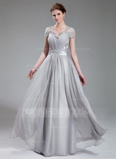 Evening Dresses - $176.99 - A-Line/Princess V-neck Floor-Length Chiffon Charmeuse Evening Dress With Ruffle Lace Beading (017019722) http://jjshouse.com/A-Line-Princess-V-Neck-Floor-Length-Chiffon-Charmeuse-Evening-Dress-With-Ruffle-Lace-Beading-017019722-g19722