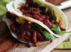 Bean and Bacon Tacos: full of flavour and easy to make these bean tacos make everyone in the family happy.