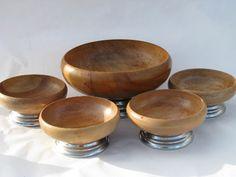 Danish modern vintage retro salad bowls set, blond wood w/ chrome Turned Wood, Salad Bowls, Danish Modern, Wood Turning, Good Old, Bowl Set, Blond, Decorative Bowls, Chrome