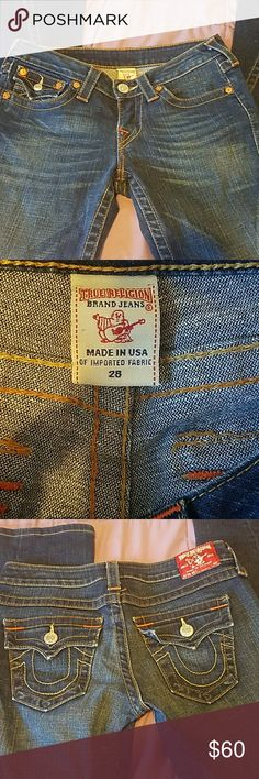True Religion jeans True Religion jeans they look brand new. No signs of wear. Super cute with the red stitching on around the belt loops and on the corners of the pockets. 29 inch inseam. Twist seam style bootcut True Religion Jeans Boot Cut
