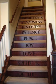 Engraved wooden stairs