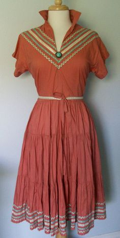 1950's Patsy Cline Squaw/Patio Dress My sister and I had a blue skirt/blouse like this