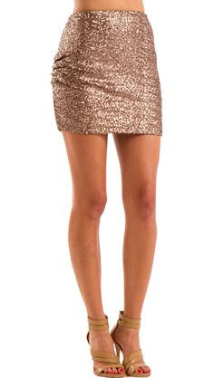 by Yoyo Yeung  Sequin Skirt, Taupe