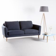 Canapé fixe tissu + pieds bois style scandinave HEJ kaligrafik port offert