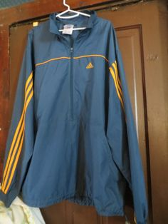 Gold and Navy Adidas Zip Up Windbreaker 90s by Linsvintageboutique