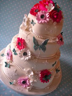 cerise with teal accents summer garden cake by nice icing, via Flickr