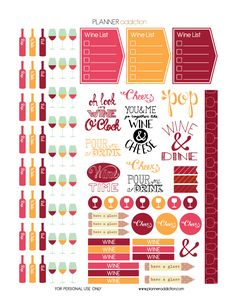 FREE Printable Planner Stickers - Wine & Cheers by Planner Addiction Create 365 Planner, Planner Tips, Free Planner, Planner Pages, Happy Planner, Passion Planner, Planner Organization, Organizing, Bullet Journal