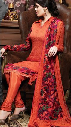 1H6102B68 Rusty Orange Pure Chiffon Salwar Kameez - IndiaBazaarOnline Shopping Store - Shop with confidence