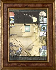Portrait of Christine Kaufman by Joseph Cornell. Printed paper collage, stamps, and graphite on board, 12 x 19 inches.Crane Kalman Gallery, London, UK.