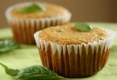 Fresh Basil & Jalapeno Cornbread Muffins