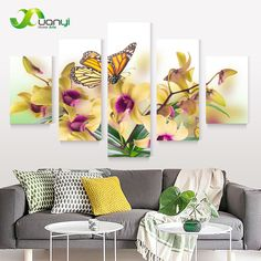 5-Panel-Moderna-Grande-Flor-de-Mariposa-Pintura-Cuadros-al-Óleo-de-la-Lona-Wall-Art.jpg (800×800)