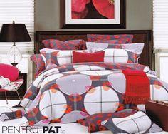Lenjerie de pat 100% bambus Pucioasa cu patratele si cercuri Comforters, Blanket, Bed, Home, Stream Bed, House, Ad Home, Rug, Homes