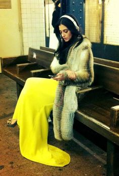 headphones and fur.only OscarPRgirl. Your Style, Style Me, Street Chic, Street Style, Vogue, High Fashion Dresses, Mellow Yellow, Neon Yellow, In This World