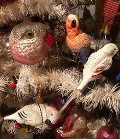 German Christmas Ornaments, Tabletop Christmas Tree, Bird Ornaments, Antique Christmas, Christmas Past, Vintage Ornaments, Pink Christmas, Christmas Ideas, Christmas Inspiration