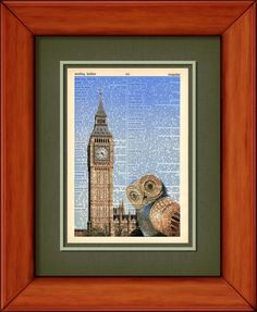 Dictionary Print  Owlex In Front Of Big Ben   6 3/4 by PagesOfAges, $7.00