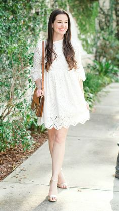 Affordable flounce sleeve white lace dress with gold Sam Edelman Yaro ankle straw sandals and Chloe Faye look alike bag | Spring LWD outfit idea | All white outfit idea | Olay Cleansing Infusions review | How to Get Glowing Spring Skin with Olay Cleansing Infusions by southern lifestyle blogger Stephanie Ziajka from Diary of a Debutante