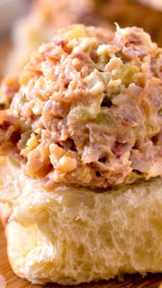 Ham Salad - A classic recipe using up leftover holiday ham. Our version uses a mix of dill pickles and sweet pepper relish for a fantastic flavor! Ham Salad Recipes, Pork Recipes, Lunch Recipes, Sandwich Recipes, Salad Sandwich, Summer Recipes, Cooking Recipes, Homemade Ham, Homemade Pickles