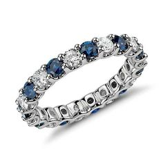 U-Prong Sapphire and Diamond Eternity Ring in Platinum (1 ct. tw.)