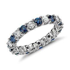 Gorgeous U-Prong Sapphire and Diamond Eternity Ring in Platinum | #BlueNile