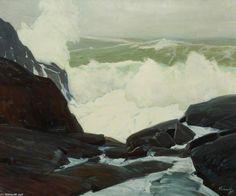 Soixante Fathoms - surf lourd, Maine de Frederick Judd Waugh (1861-1940, United States)