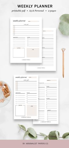 Weekly Planner Spread, Weekly Layout, Productivity Planner, Planner Spread, Student Planner, Weekly Schedule, - A5 & Personal Size For Individual Who Loves Minimalistic And Clean Design, Instant Download! Weekly Schedule, Weekly Planner, Printable Planner, Printables, Planner Dividers, Student Planner, Papers Co, Clean Design, A5