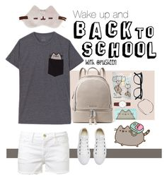"""""""Let's Back to school !!"""" by fxxkwithus on Polyvore featuring Converse, Pusheen, Frame Denim, MICHAEL Michael Kors, DKNY, cute, pusheen and PVxPusheen"""