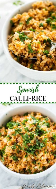 This Spanish Cauliflower Rice is a delicious low-carb side dish that you can enjoy without guilt! Naturally Gluten Free and Keto Friendly. via /wendypolisi/ beilage Spanish Cauliflower Rice Healthy Potato Recipes, Low Carb Recipes, Diet Recipes, Vegetarian Recipes, Cooking Recipes, Cauliflower Recipes, Cleaning Recipes, Sodium Free Recipes, Casseroles Healthy