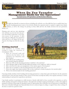 When Do You Transfer Management Skills for the Operation? #AGLEGACY.org #FarmSuccession http://www.uwagec.org/aglegacy/2018/02/19/when-do-you-transfer-management-skills-for-the-operation/  The right time depends on numerous factors. . .